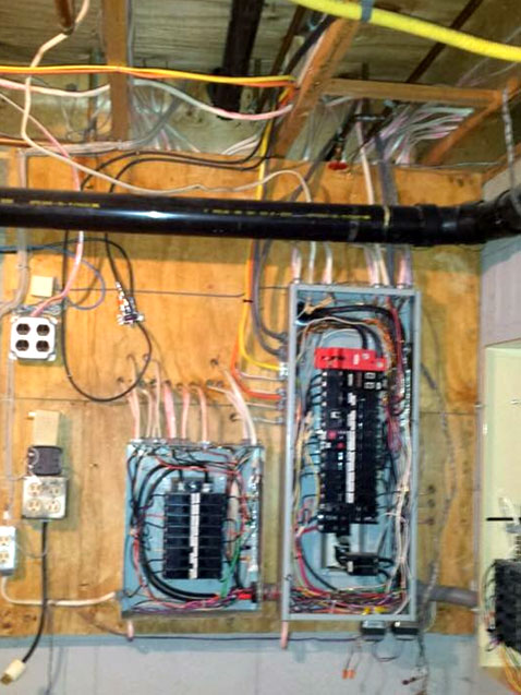 New Home Construction Electricians | Residential Construction ... Updating Electrical Panel on replacing electrical panel, expanding electrical panel, covering electrical panel,